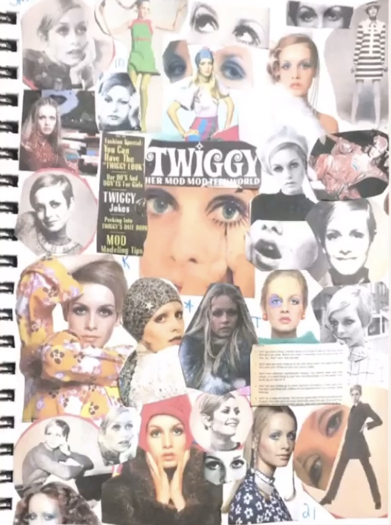 one of the collages i made of 60's icon Twiggy Larson while i was doing school work online.